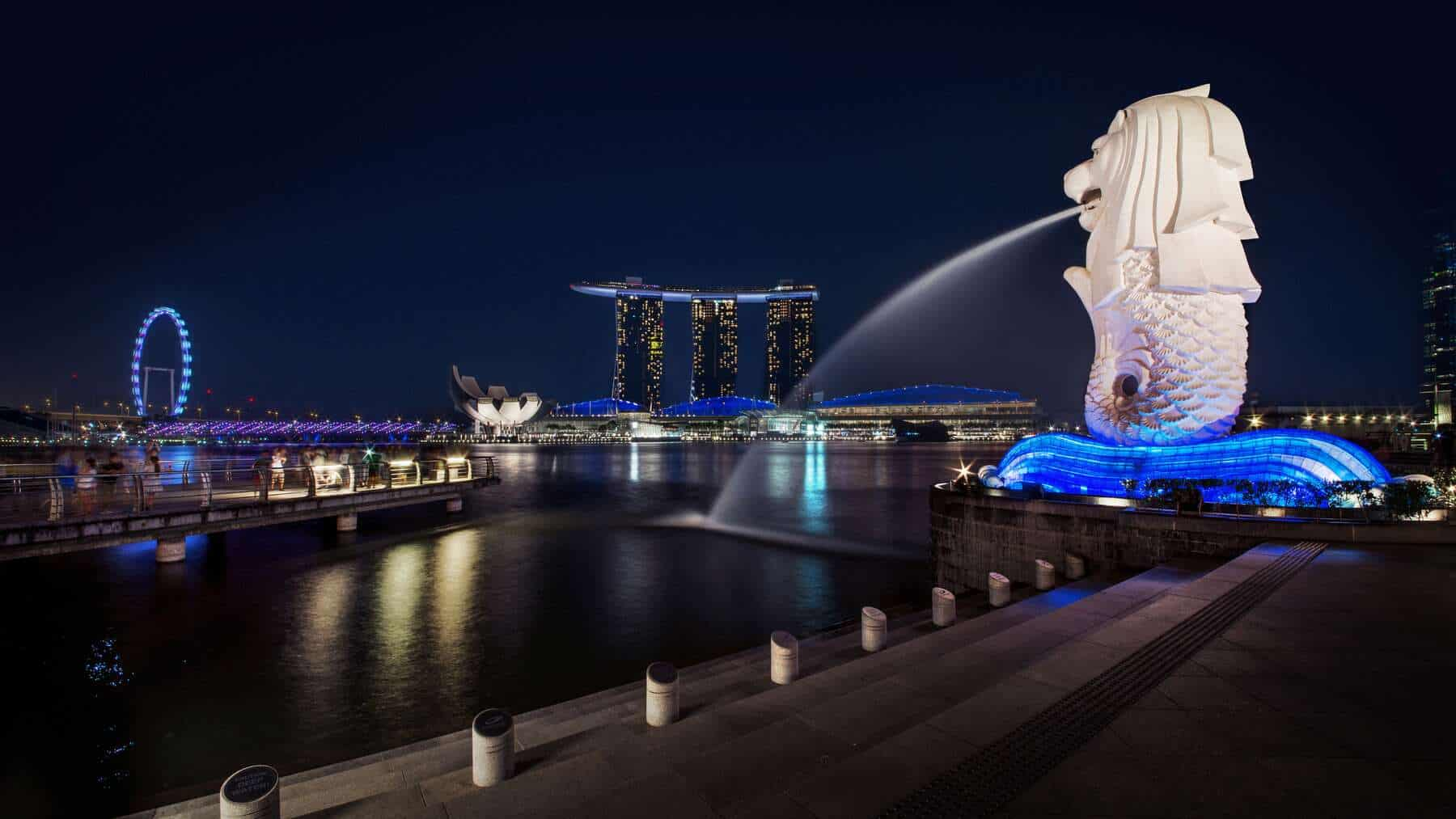 The Merlion og Marina Bay Sands i Singapore.